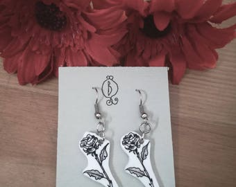 White Rose earrings