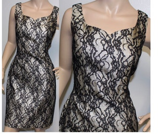 Vintage 1950s Lilli Diamond black lace silver lame wiggle party dress medium 232