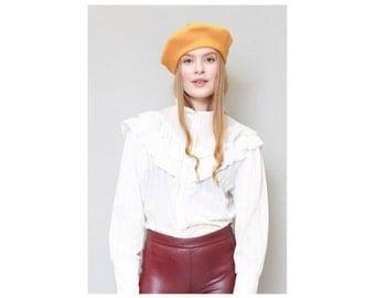 Vintage 1970's White Striped Ruffled Blouse