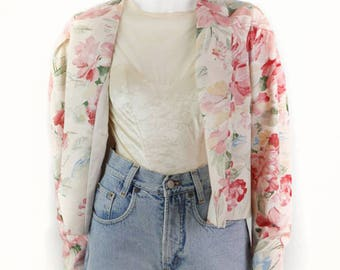 Vintage short jacket with flower motif