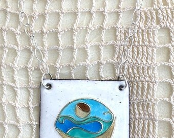 Cup and Ocean, Enamel Low Cloisonné, Handmade