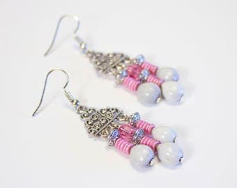 Seed and crystal earrings