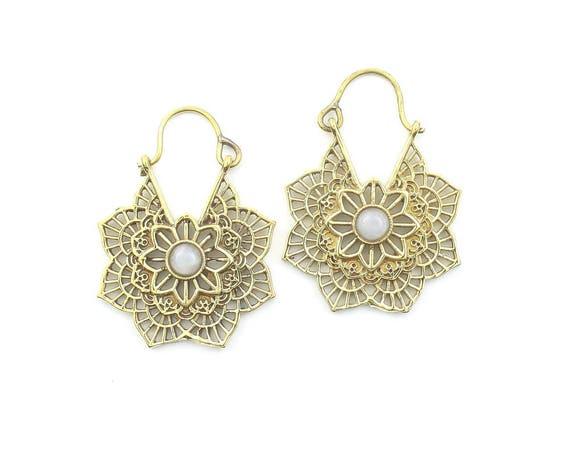 Mandala Moonstone Earrings, Brass Moonstone, Gemstone Jewelry, Mehndi Brass Earrings,  Festival Earrings, Gypsy Earrings, Ethnic Earrings