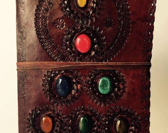 Leather Bound Journal, Leather Notebook, Blank Journal, Magical Seven Stones Journal