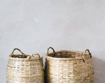 Natural Bamboo Woven Basket   For Plants, Blankets, Storage