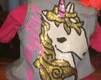 Custom Denim Vest, Custom Denim Jacket, 1st Birthday
