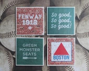 Boston Red Sox / Boston Red Sox Coasters / Fenway Park / Green Monster / Boston Coaster / Boston / Red Sox Gift / Boston Gift / Housewarming
