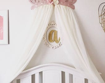 Crib Canopy, Bed Crown Rose Gold Flower Pink Princess Wall Decor