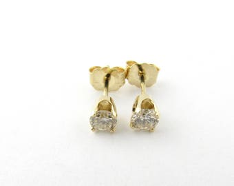 Vintage 14 Karat Yellow Gold Diamond Stud Earrings .40 ct. #3096