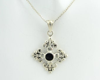 Filigree And Onyx Cross Necklace- Sterling Silver