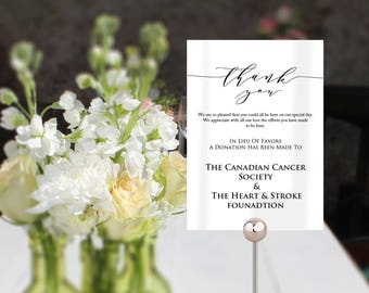 Wedding In Lieu Of Favors Sign, In Lieu Of Favors Template, Wedding Table In Lieu Of Favours Sign, Wedding template in 2 useful sizes.