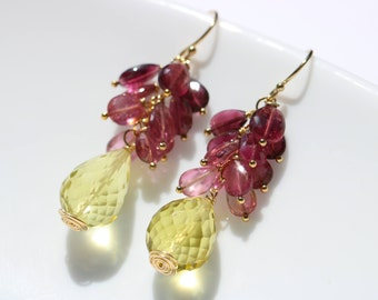 Lemon Quartz Earrings, Pink Tourmaline Earrings, Small Cluster Earrings, Pink Gemstone Earrings, Yellow Gemstone Dangle Earrings Gold Filled