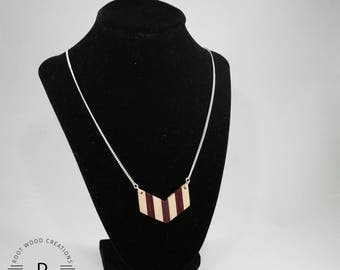 Wood Chevron Necklace | Reclaimed Padauk Wood Necklace