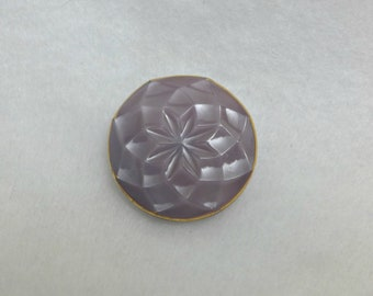 Czech glass button - dusted purple, gold line - 27mm