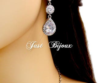 Wedding Earrings Platinum plated Zirconia Earrings Clip On Wedding Jewelry Bridal Earrings Bridesmaid Gift Wedding Jewelry Teardrop Earrings