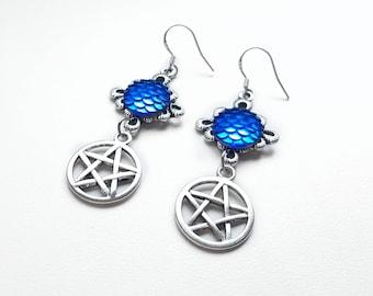 Pentacle earrings, Pentagram earrings, Dragon scale earrings, 925 Silver earrings, Witch earrings, Mermaid scale earrings, New age, Wicca