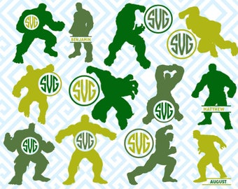 Hulk Monogram, Digital Cutting Files, Svg Files for Silhouette, Cricut, Marvel Monogram Frame, Superheroe SVG, Avengers Files, 10luna