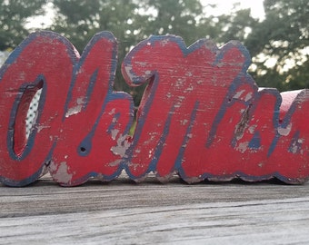 Distressed Wooden Ole Miss logo