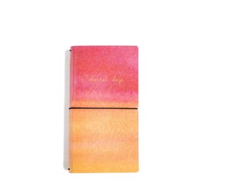 Red & Orange Watercolour Faux Leather Notebook, Refillable Journal, Faux Leather Journal, Fauxdori - PJ293