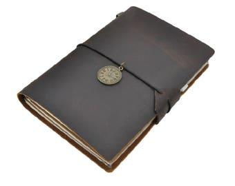Dark Brown Midori Style Traveler's Notebook, Refillable Leather Notebook Journal - PJ002