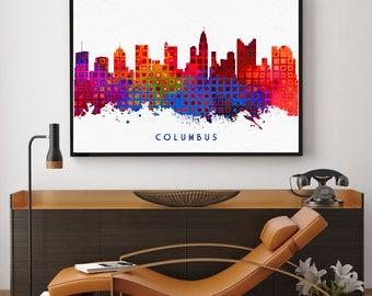Columbus Skyline Print, Columbus Painting, Columbus Art, Columbus Wall Decor, Watercolor Columbus, Ohio Painting (N197)