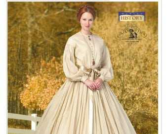 Sewing Pattern for Women's Gathered Dress w/ Petticoat, Butterick Costume Pattern 5831, Halloween, Cosplay, Historical Dress, Civil War Era