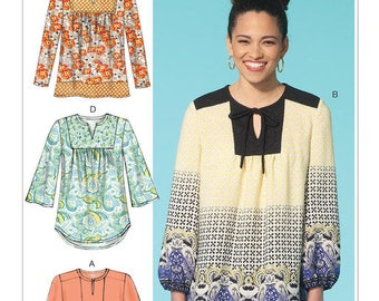 Sewing Pattern for Misses' Notch-Neck or Keyhole Tops, McCall's Pattern 7284, Plus Sizes Avail, Easy Sew, Casual Blouse