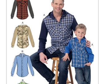 Sewing Pattern for Men's and Boys' Button-Down Shirts with Hood or Collar, McCall's Pattern 7447, New, Matching Father-Son Shirts, Hooded