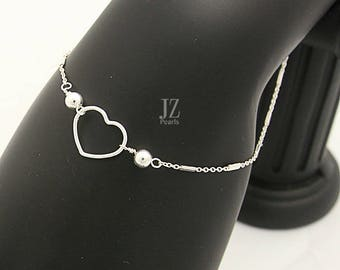 Delicate Sterling Silver Heart Bracelet attached by Sterling Silver Block Chain  with 2 mm Cubic Zirconia Crystal Stud Earrings