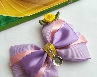 Rapunzel Hair Bow, Tangled, Baby Headband, Disney, Princess, Rose Flowers, Lilac, Pink, Purple,Yellow, Gold, Hair Clip,Uk