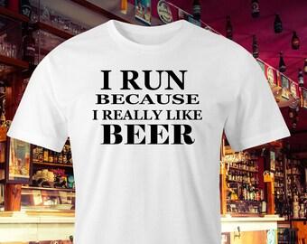 Beer lovers t-shirt, Runners print, Beer drinker T-shirt, Joggers t-shirt, Love to run t-shirt, Love to drink Beer T-shirt,My drinking shirt