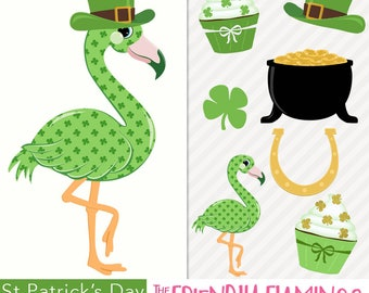 St Patrick's Day flamingo clipart, green shamrock, pot of gold, lucky horseshoe, cupcakes, four leaf clover digital PNG clip art (CL051)