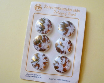 Carded Buttons Vintage Round Glass Buttons Gold White Buttons Czech Republic Sewing Supplies