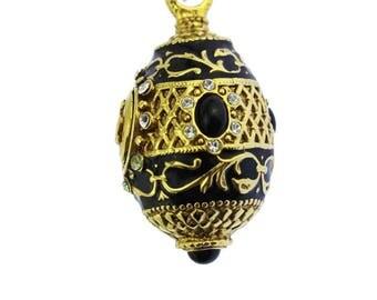 Joan Rivers Black Enamel and Gold Faberge Egg Pendant Necklace, Joan Rivers Necklace, Joan Rivers Egg Necklace, Black and Gold Necklace