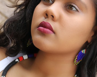 African chandelier earrings- Royal blue