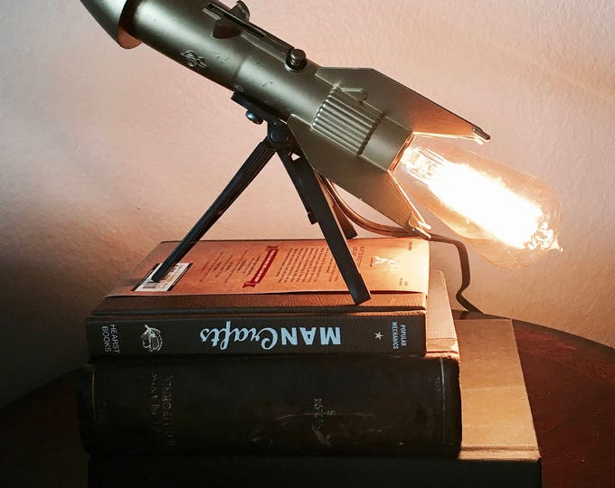 Unique vintage metal rocket lamp.1957 Burzac coin bank  Definitely original gift idea!  perfect desk lamp .