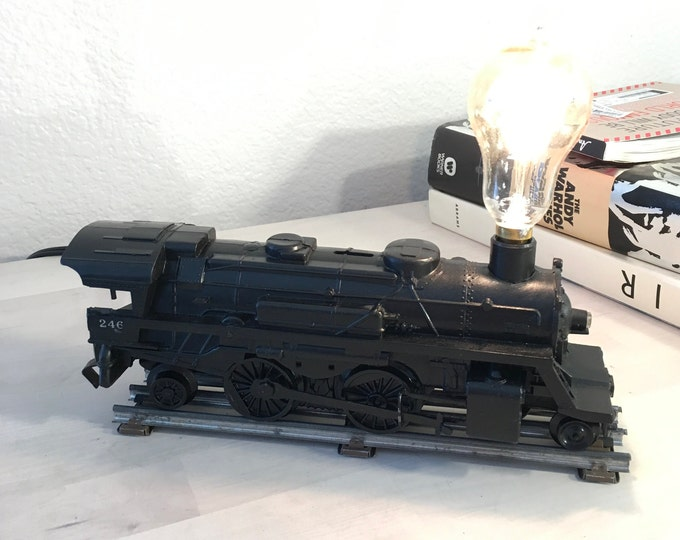 Vintage train lamp. Upcycled toy. Unique gift for the inner child