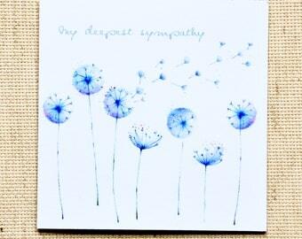 Sympathy Card, My Deepest Sympathy card,  Condolence Card, Condolence Greeting Card, Floral  Sympathy card, Floral card, Loss greeting card
