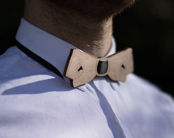 Wooden bowtie hand lasercut engraved and hand painted