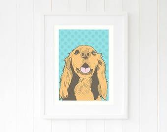 Sprocker wall decor, Sprocker pop art print, Sprocker mom dog gift, sprocker spaniel wall art, cocker spaniel print, springer spaniel decor