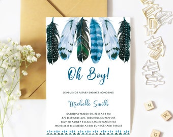 Baby Shower Invitation Boy, Feather Baby Shower Invitation, Oh Baby Boy, Tribal, Spring, Summer, Printable, Printed