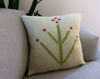 Knit Pillow, Plant Design, Home & Living Decor, Kids Decor