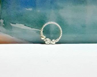 925 Sterling silver twisted Helix Hoop, Nose Ring, Tragus Hoops, Cartilage Piercing, Nose piercing, 16-20 Gauge, 8-12mm Inner Diameter
