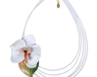Flower necklace Orchid in bloom with cowhide leather shifted leather cords