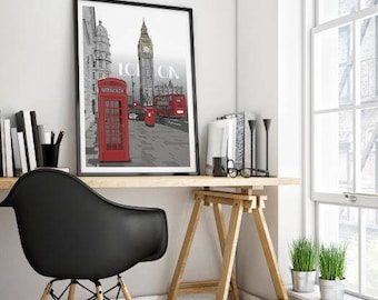 London art print, London poster, London illustration, London drawing. London wall art, British art, instant download art