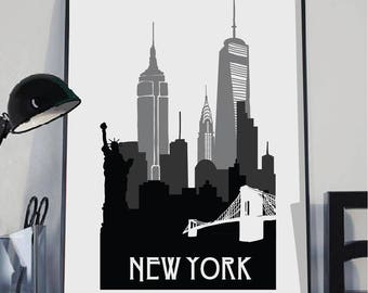 New York Print, New York Silhouette print, Wall art,City poster, Silhouette art, New York poster, City Skyline art, instant download art