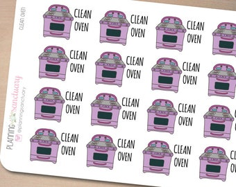 Clean Oven Reminder Planner Stickers Perfect for Erin Condren, Kikki K, Filofax and all other Planners