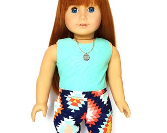 Print Pants, Aztec, Tribal, Navy Blue, Orange, Turquoise Blue, White, Fits dolls such as American Girl, 18 inch Doll Clothes, Summer, Fall