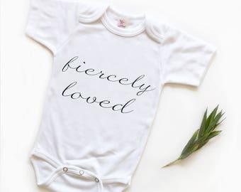 Baby bodysuit, Baby Bodysuit, Fiercely Loved, Baby Shower Gift, Trendy Baby, Trendy Baby Gift, Script, Loved