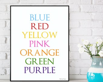 Colors poster, Multi-colored words, Kids room decor, Kids poster, Nursery girl decor, Nursery boy decor, Children poster, Rainbow typography